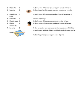 Partes del cuerpo parts of the body half sheet Spanish to Spanish definitions