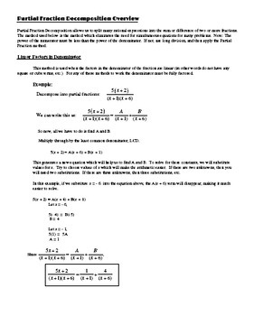 PreCalculus Partial Fractions Decomposition - Guided Notes plus Problem Set