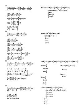 Partial Fraction Decomposition Worksheet for Integrals - AP Calculus BC