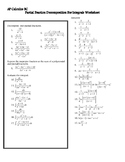 Partial Fraction Decomposition Worksheet for Integrals - A