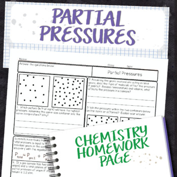 Partial Pressures Chemistry Homework Worksheet