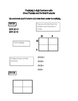 Partial Product/Area Models 2-digit multiplication Journal Notes