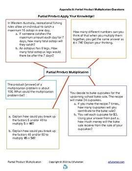 Partial Product Multiplication Lesson Plan, Activities, and Questions