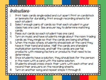 Partial Product Multiplication Task Cards and Cooperative Learning Activity