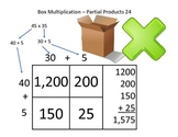 Box Method Multiplication - Partial Products - 2 Digit by 2 Digit - 24 problems