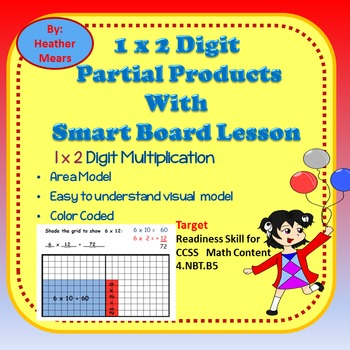 Partial Products 10 x 20 grid with smart board lesson 1 x 2 digit multiplication