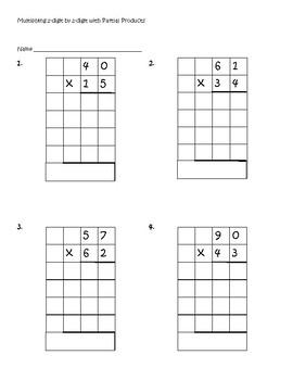 Partial Products 2-digit x 2-digit Worksheets 4.NBT.5