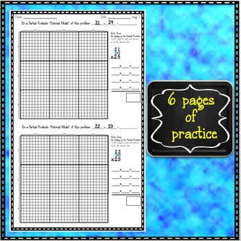 Partial Products Multiplication 30 by 30 grid