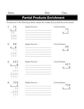 Partial Products Multiplication Enrichment Worksheet