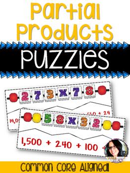 Partial Products Multiplication Puzzles COMMON CORE ALIGNE