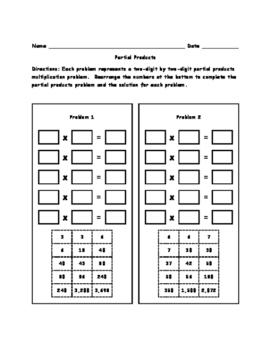 Partial Products Worksheets and Puzzles