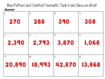 Partial Products and Box Method/Array Model Multiplication Task Cards