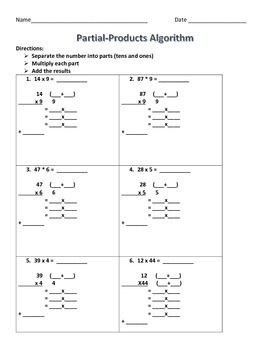 Partial Products practice sheet 2