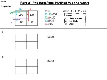 Partial Products/Box Method: 2x2 Digit Multiplication