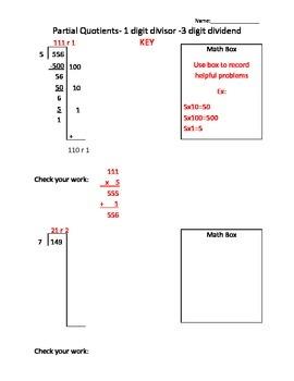 Partial Quotient - 1 digit divisor - 3 digit dividend