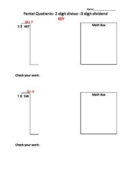 Partial Quotient - 2 digit divisor - 3 digit dividend