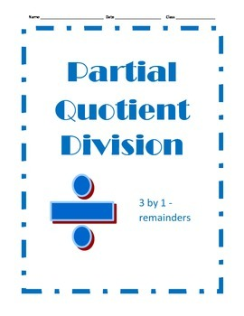 Partial Quotient Division - 12 Problems - 3 by 1 With Remainders