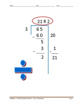 Partial Quotient Division - 24 Problems - 2 by 1 with Remainders
