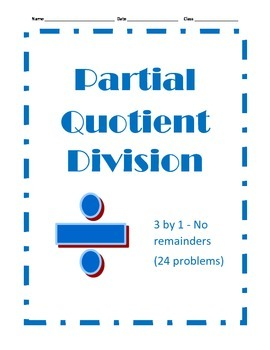Partial Quotient Division - 24 Problems - 3 by 1 with Remainders