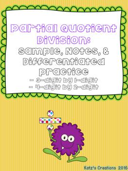 Partial Quotient Division Bundle (3-digit by 1-digit & 4-d
