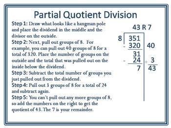 Partial Quotient Division Poster