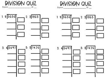 Partial Quotient Division Quiz