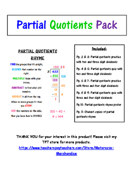 Partial Quotient Pack- with catchy RHYME