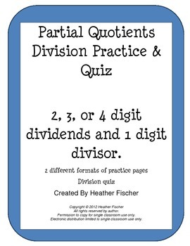 Partial Quotients Division Practice and Quiz