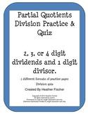 Partial Quotients Division Practice and Quiz
