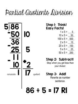 partial quotients division single digit divisors by 5th grade polka dots. Black Bedroom Furniture Sets. Home Design Ideas