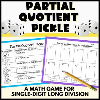Partial Quotients Pickle - A single digit long division game