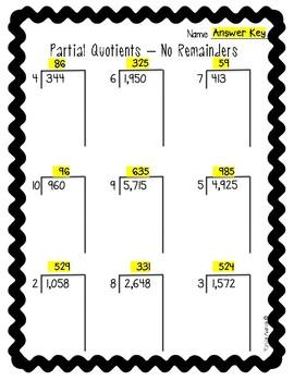 Partial Quotients Worksheets by Monica Abarca | Teachers Pay Teachers