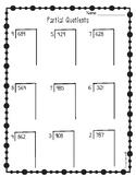Partial Quotients Worksheets