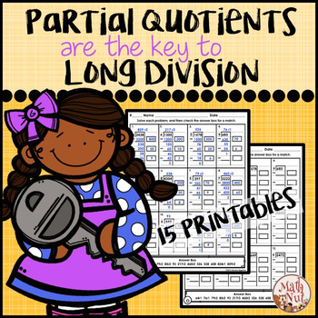 division worksheets partial quotients division by math nut tpt. Black Bedroom Furniture Sets. Home Design Ideas