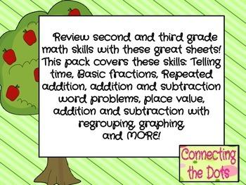 PARTIAL September Third Grade Math Review Packet