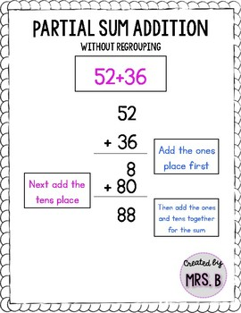 Partial Sum Double Digit Addition Word Problem Pack!
