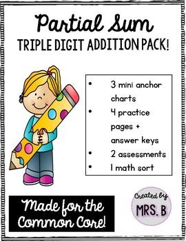 Partial Sum Triple Digit Addition Pack