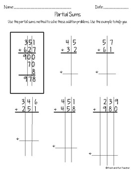Partial Sums Addition Worksheets