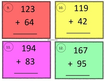 Partial Sums Task Cards & Differentiated Recording Sheets (Sum Equals over 100)