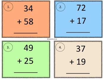 Partial Sums Task Cards & Differentiated Recording Sheets (Sum is less than 100)