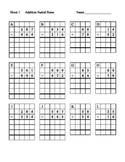 Partial Sums Worksheets with Grids