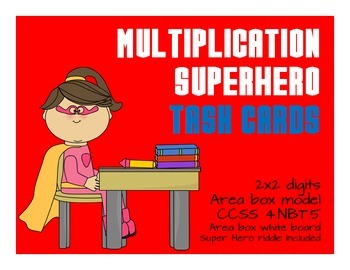 Partial products x 2 Digit Multiplication Task Cards Super Hero2
