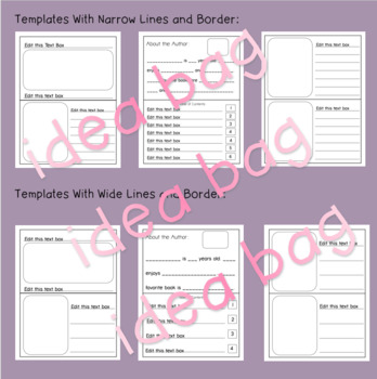 Partially Editable Blank Book Templates for Story & Writer's Workshop: Landscape