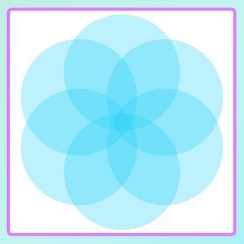 Partially Transparent Circle Flowers Clip Art Set for Commercial Use