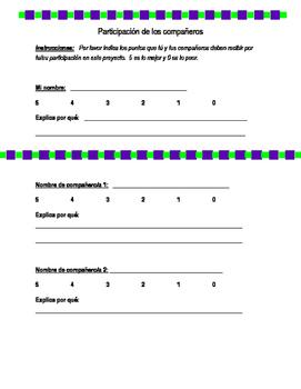 Participación de los compañeros (Partner/Group Grade Sheet)