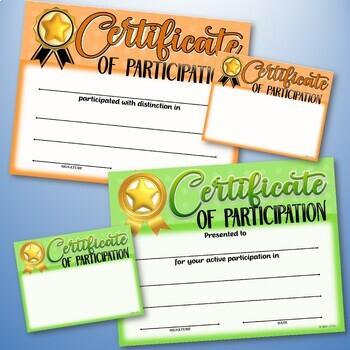 Participation Certificates ~ Fillable