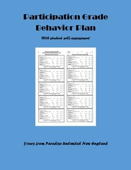 Participation Grade Behavior Plan Gr. 9, 10, 11, 12