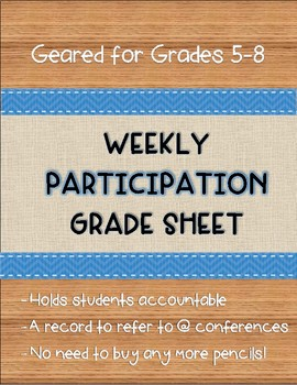Participation Grading Sheets