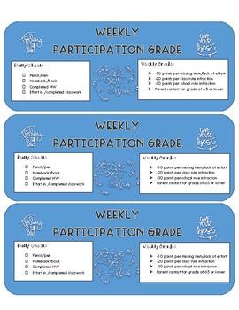 Participation Grading Sheets