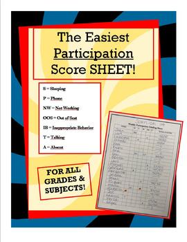 Participation Score Sheet - ANY SUBJECT!